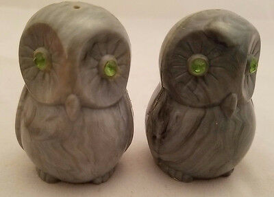 """Grey OWL Salt and Pepper shakers plastic just over 2"""" tall Gray Green Jewel Eyes"""