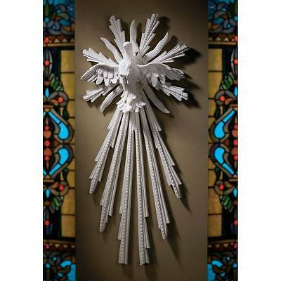 """Dove Of Peace Bonded Natural Marble 28"""" Design Toscano Exclusive Wall Sculpture"""