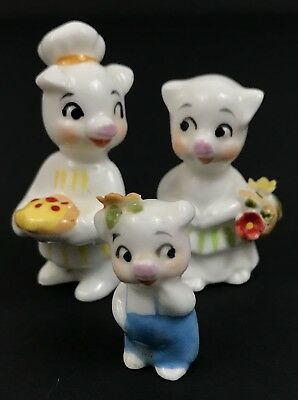 Lot of 3 Miniature Porcelain Pig Family Figurines Father Mother Child