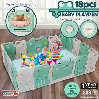 ABST 18 Sided Baby Playpen Interactive Kids Room Safety Gates Child Barrier Frog