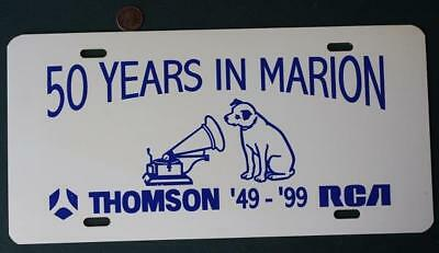 1999 Marion Indiana RCA-Thomson Co.50th anniversary license plate-Nipper the dog