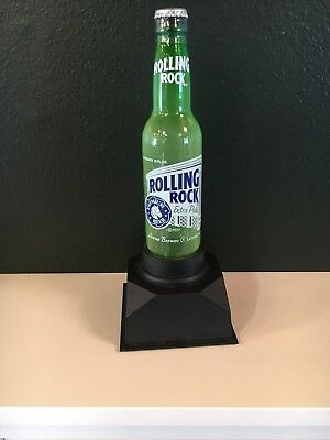 Rare Electric Plasma Neon Rolling Rock Extra Pale Beer Bottle Light Up Bar Sign