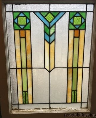 "Antique Art Deco Stained Leaded Glass Window 31"" by 24"""
