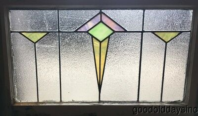 "Antique Art Deco Stained Leaded Glass Transom Window 30"" by 19"" Circa 1925"