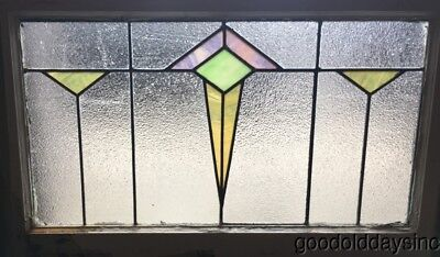 "Antique Stained Leaded Glass Transom Window 30"" by 19"" Circa 1925"
