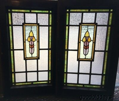 Great Antique Small Stained Leaded Glass windows with crackle glass circa 1910