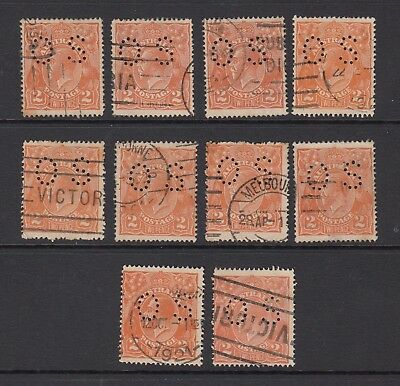 1920 2d ORANGE KGV OFFICIAL, 10 stamps, USED