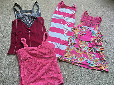 SET lot of Teen Girl/ Young Adult STRAPPY shirts PINKS Aero Vanity Candies S-Med