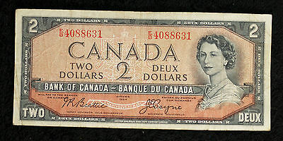 1954 Bank of Canada Devil's Face $2 Note - E/B - Very Fine Note