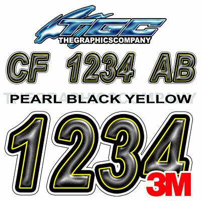 BLACK YELLOW Custom Boat Registration Numbers Decals Vinyl Lettering Stickers