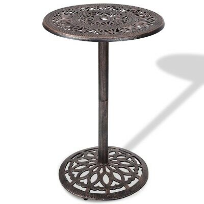 Vintage Carved Cast Aluminum Round Bar Table Outdoor Patio Pub Bistro Furniture
