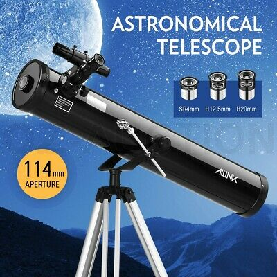 Astronomical Telescope Aperture 114mm 675x Zoom HD High Resolution w/ Tripod -BK