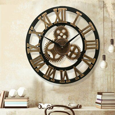Large Outdoor Garden Wall Clock Roman Numerals Vintage Rustic Gear Face 50cm