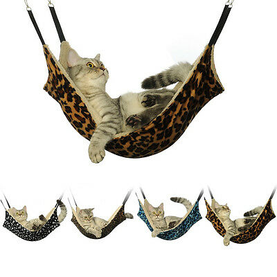 Warm Pet Cat Leopard Fur Bed Cage Soft Hanging Ferret Hammock Large Winter House