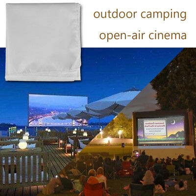 120 Inch Portable White Outdoor Home Projector Curtain Projection Screen 16:9 DH