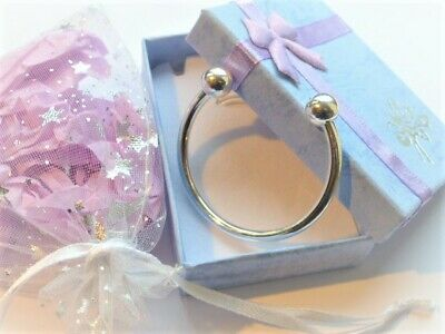 little baby silver bangle bracelet & Gift box or Gift pouch Chriistening Baptism