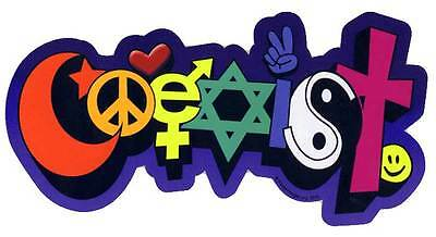 Coexist Hippie Style Funky Shape BUMPER STICKER religious tolerance co-exist 60s
