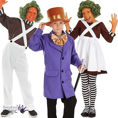 Boys Girl Kids Oompa Loompa Chocolate Factory Book Fancy Dress Outfit Costume