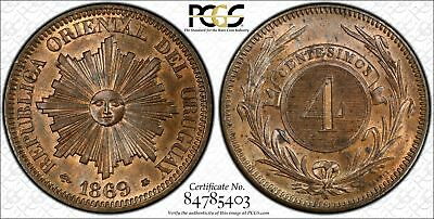 Uruguay 4 Centesimos 1869 A MS64+ RB PCGS KM#13 2ND FINEST POP 1/1