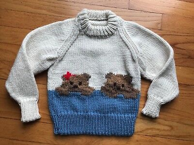 Hand Knit Handmade Ivory Brown Blue Teddy Bear Crewneck Pullover Sweater SZ 2T