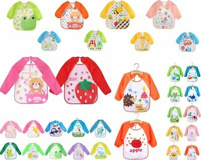 Cartoon Waterproof Unisex Baby Toddler Feeding Long Sleeve Art Apron Animal Bibs