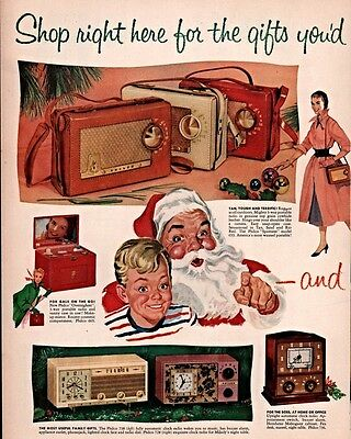 1955 Ad Philco Radio Phonograph Clock Santa Portable Sportster Tourister Luggage