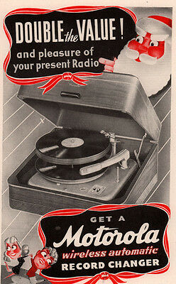 1941 Ad Motorola Radio Record Changer Santa  Cream Of Wheat Lil Abner Rastus