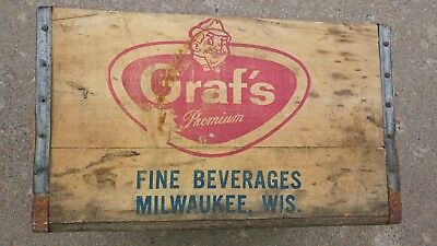 Vintage Wood Crate Grafs Milwaukee Soda Crate
