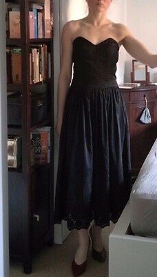 Monsoon Black Boho Bandeau Embroidered Dress Silk Prom Gown Wedding size 8 10