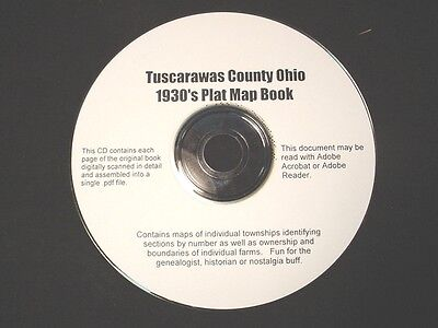 CD ~ 1930's Tuscarawas County Ohio Plat Map Book