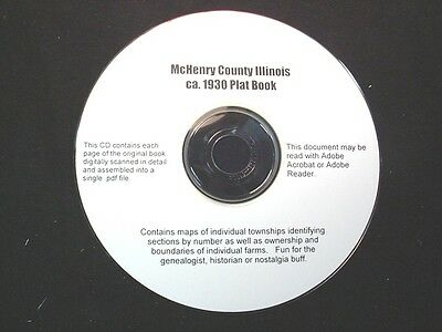 CD ~ 1930's McHenry County Illinois Plat Map Atlas
