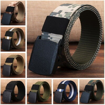 Mens Army Style Buckle Nylon Belt Sports Outdoor Waist Canvas Belt