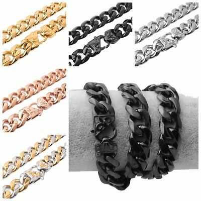 """12/15mm Curb Link Chain Mens Stainless Steel Bracelet Necklace 7-40"""" Customized"""