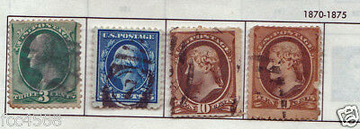 19th CENTURY 1870 RARE 4 X USA STAMPS 1 CENT TO 10 CENTS USED & HINGED