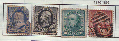 19th CENTURY 1890 RARE 4 X USA STAMPS 1 CENT TO 30 CENTS USED & HINGED