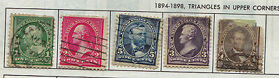 19th CENTURY 1890 RARE 5 X USA STAMPS 1 CENT TO 30 CENTS USED & HINGED LOT2