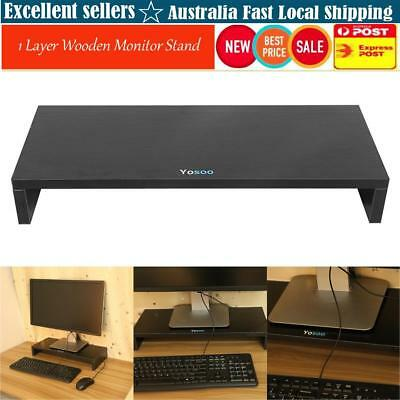 1 Layer Wooden LCD Computer Monitor Stand Riser Desktop Display Bracket Black