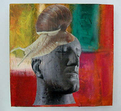 Original Mixed Media Painting Head With Snail Collage Surreal British Art