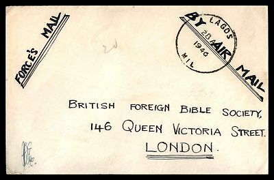 Nigeria Lagos Mil 1946 Forces Mail Airmail cover to London Per Airmail