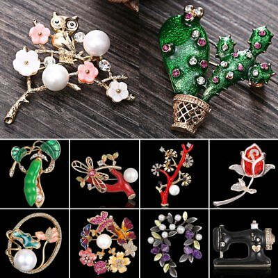 Animal Dragonfly Butterfly Owl Rose Pearl Crystal Brooch Pin Spring Jewellery