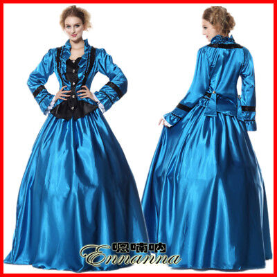 Vintage Victorian Cosplay Costume Retro Court Gown Halloween Queen Fancy Dress