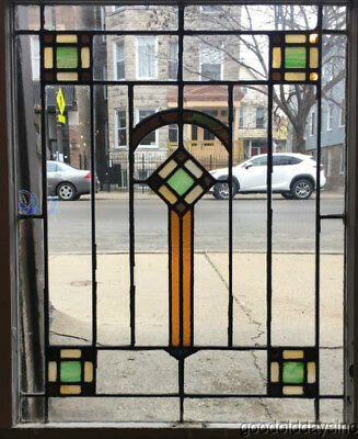 "Stained Leaded Glass Window Chicago Bungalow Style 34"" by 26"""