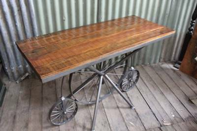 A Rustic Console Hall Table on Iron Bicycle Style Frame - Stand - Island Bench