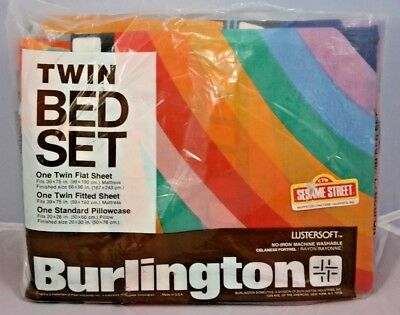NIP VTG 1970's Burlington SESAME STREET MUPPETS Twin Sheet Set Count Oscar NEW!!