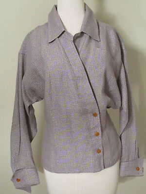 Vintage late 80s/early 90s Anne Klein II Jacket Shirt Purple Check Linen - 4