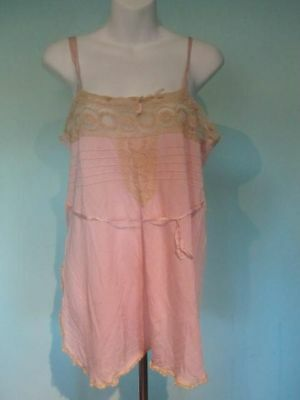Vintage Pink Nylon and Lace Lingerie Teddy Large