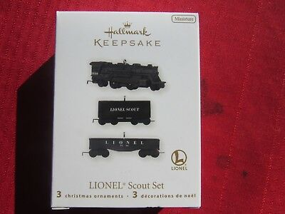 NIB 3 Piece Hallmark Lionel Miniature Scout Train Ornament set