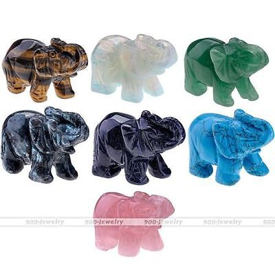 Elephant Figurine Stone Carved Gemstone Crystal Ornament Display Decoration