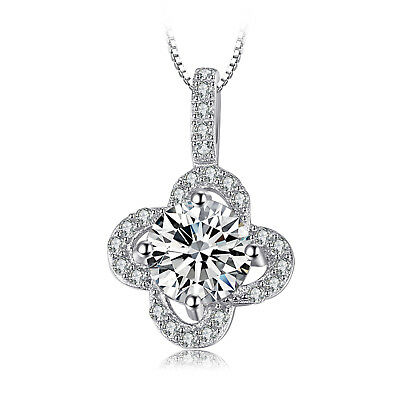 JewelryPalace Flower 1.47ct Cubic Zirconia Drop Pendant Necklace 925 Silver