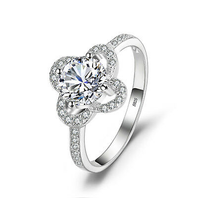 JewelryPalace Flower 1.5ct Cubic Zirconia Statement Ring 925 Sterling Silver
